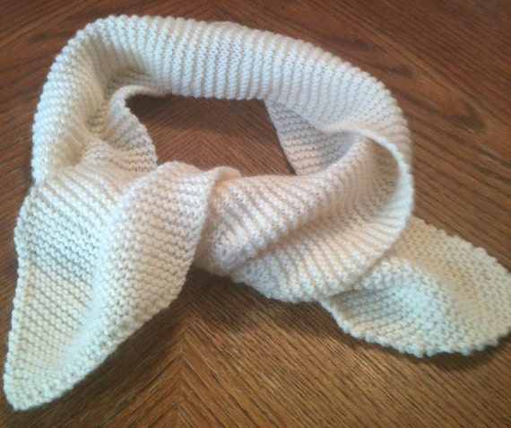 White Hand Knitted Neck Tie