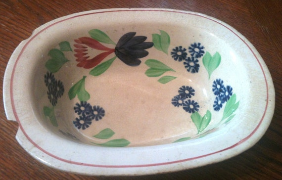 Antique Serving Bowl with Hand Painted Flowers