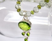 """necklace with green amethyst and peridot fluorite silver 925 """"Spring-summer"""" gemstone"""