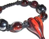 Adjustable Knotted Dark Russet Heart Bracelet