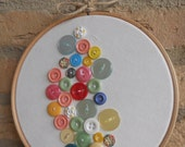 Pretty pink button embroidery hoop