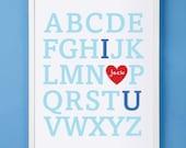 Nursery Children's Customized Alphabet Print 11x14