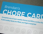 Personalized PRINTABLE Children's Chore Card for Moms and Dads