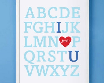 Nursery Children's Customized Alphabet Print 11x14