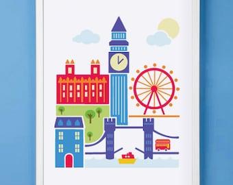 London England Art Print for Nursery or Children's Room Decor