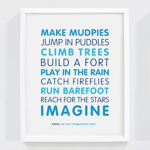 "Personalized ""Let Your Imagination Soar"" Art Print for Nursery or Children's Bedroom Decor"