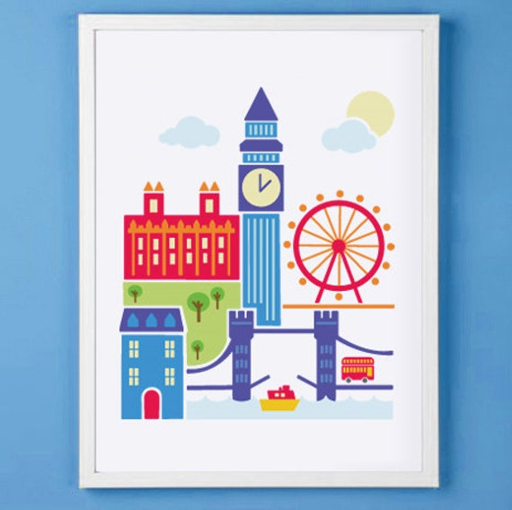 Items similar to london england art print for nursery or for Room decor etsy