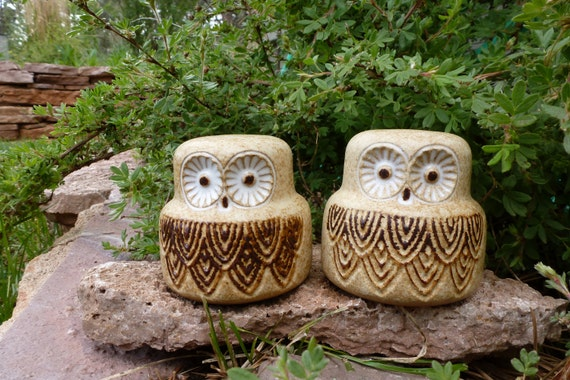 Vintage Shakers, Owls,1970's, Owl Salt and Pepper Shakers, 1980's, Pottery Craft Owl Shakers, Kitchenwares, Brown Owls, Bird Shakers