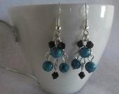 Blue Howlite and Black Crystal Earrings