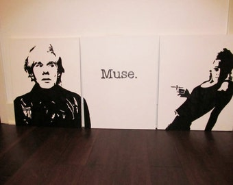Andy Warhol and Edie Sedgwick Muse painting