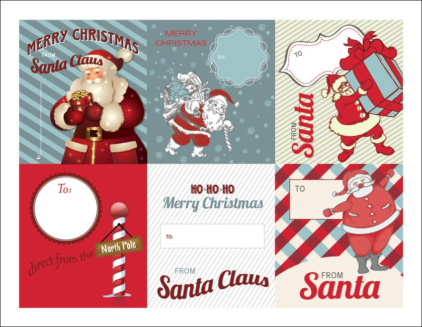INSTANT DOWNLOAD Printable Gift Tags from Santa by designbytracy