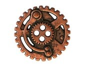 2 Steampunk Gears 5/8 inch ( 15 mm ) Metal 4 Hole Buttons Copper Color