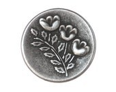 12 Triplet Flower 7/8 inch ( 23 mm ) Metal Buttons Antique Silver Color