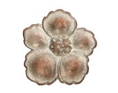 3 Hibiscus 3/4 inch ( 19 mm ) Metal Buttons White Copper