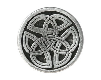 2 Round Celtic Tri Knot 1 inch ( 25 mm ) Pewter Metal Shank Buttons