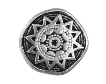 3 Sun Star 3/4 inch ( 20 mm ) Metal Buttons Antique Silver Color