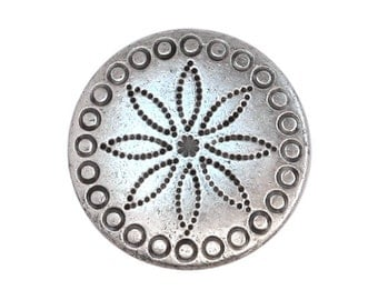 3 Flower Concha 3/4 inch (20 mm) Metal Buttons Silver Color