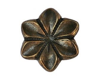 3 Star Flower 7/8 inch ( 23 mm ) Metal Buttons Brass Color