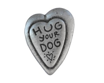 2 Hug Your Dog 1 inch ( 25 mm ) Metal Buttons Antique Silver Color