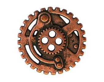 2 Steampunk Gears 7/8 inch ( 22 mm ) Metal 4 Hole Buttons Copper Color