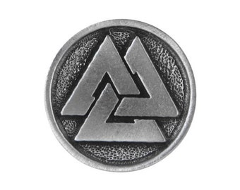 2 Viking Valknut 1 inch ( 25 mm ) Pewter Metal Buttons Silver Color
