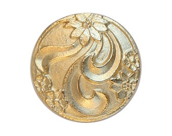 2 Floral 3/4 inch ( 20 mm ) Metal Buttons Gold Color