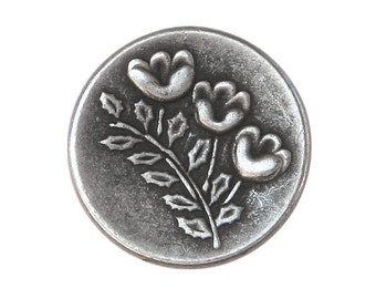3 Triplet Flower 3/4 inch ( 19 mm ) Metal Buttons Antique Silver Color