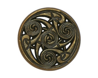 12 Celtic Swirls 7/8 inch ( 22 mm ) Metal Buttons Antique Brass Color