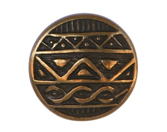 3 African Shield 7/8 inch ( 22 mm ) Metal Buttons Brass Color