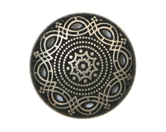 12 Arabesque 7/8 inch ( 23 mm ) Metal Buttons Antique Silver Color