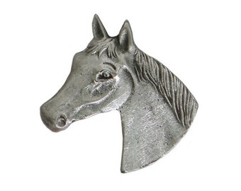 3 Horsehead 3/4 inch ( 20 mm ) Pewter Buttons