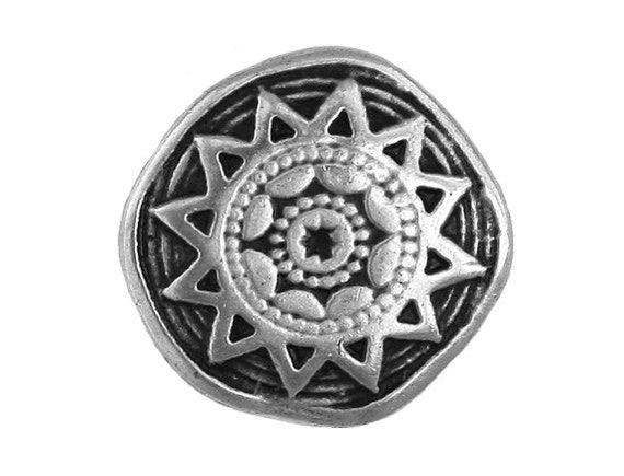12 Sun Star 7/8 inch ( 22 mm ) Metal Buttons Antique Silver Color
