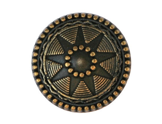 12 Starlight 7/8 inch ( 22 mm ) Metal Buttons Brass Color
