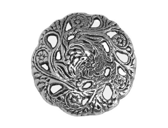 2 Evensong 11/16 inch ( 17 mm ) Metal Buttons Antique Silver Color