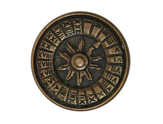 2 Sundial 7/8 inch ( 23 mm ) Metal Buttons Antique Brass Color
