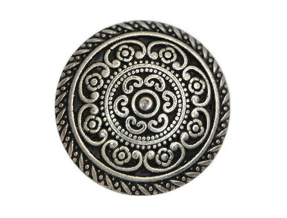 2 Cordes 3/4 inch  ( 20 mm ) Metal Buttons Silver Color