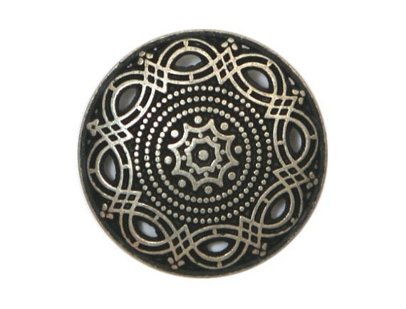 2 Arabesque 7/8 inch ( 23 mm ) Metal Buttons Silver Color