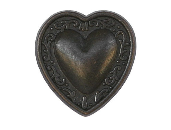 3 Bern Heart 7/8 inch ( 23 mm ) Metal Buttons Black Copper Color