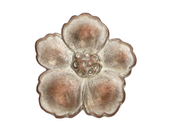 12 Hibiscus 3/4 inch ( 19 mm ) Metal Buttons White Copper Color
