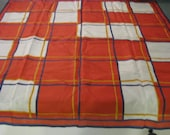 Vintage 60s geometric red wide plaid scarf Made in Japan