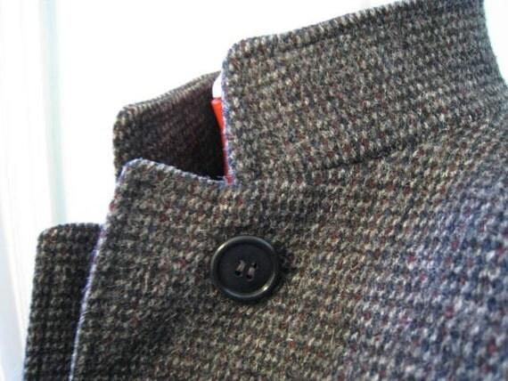 Vintage Wool Coat - 80s Dark Gray Speckled Coat w/ Turn Up Collar
