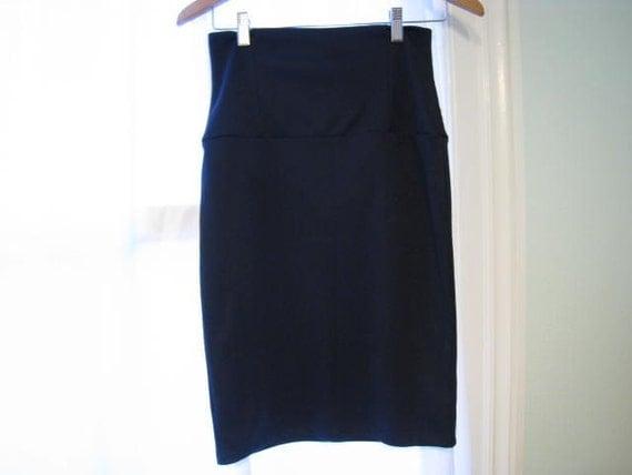 Vintage 90s Skirt - Navy Blue, High Waist, Corset-style Fit, Knit Skirt