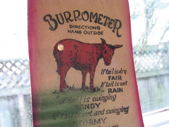 Vintage Yellowstone Park Souvenir -  Leather Burrometer Barometer for Hanging