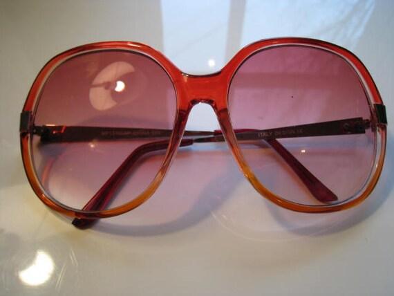 Vintage 70s Big Sunglasses - Tropical Beach, Rose Tinted Summer Glasses