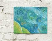 Mixed Media Art, Whimsical Art, Children's Wall Art, Mixed Media Collage, Mixed Media Painting, Textured, Aqua Sky, Abstract Landscape