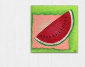 Mixed Media Collage, Kitchen Wall Art, Watermelon Fruit Art, Food Art, Mixed Media Painting, Original Mixed Media Art, Country Home Decor