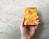Yellow Fridge Magnet, Abstract Painting Stocking Stuffer, Locker Accessories, Mixed Media Collage, Kitchen Magnet, Refrigerator Magnet, ACEO