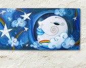 Outer Space, Children's Wall Art, Moon and Stars, Night Sky Mixed Media Collage, Art for Nursery, Wall Art for Kids