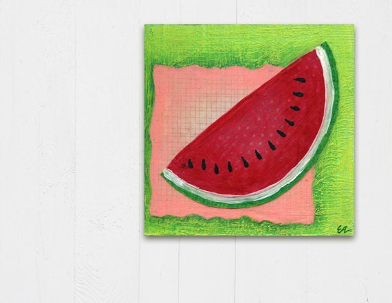 mixed media collage kitchen wall watermelon fruit