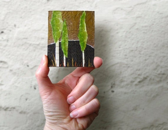 Fridge Magnet, Stocking Stuffer, Poplar Tree Mixed Media Collage, Locker Accessories, Kitchen Magnet, Refrigerator Magnet, Nature Inspired